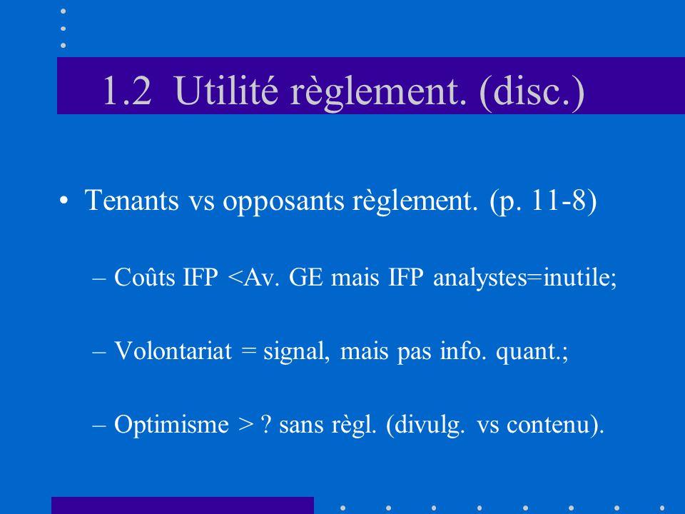 1.2 Utilité règlement. (disc.) Tenants vs opposants règlement.