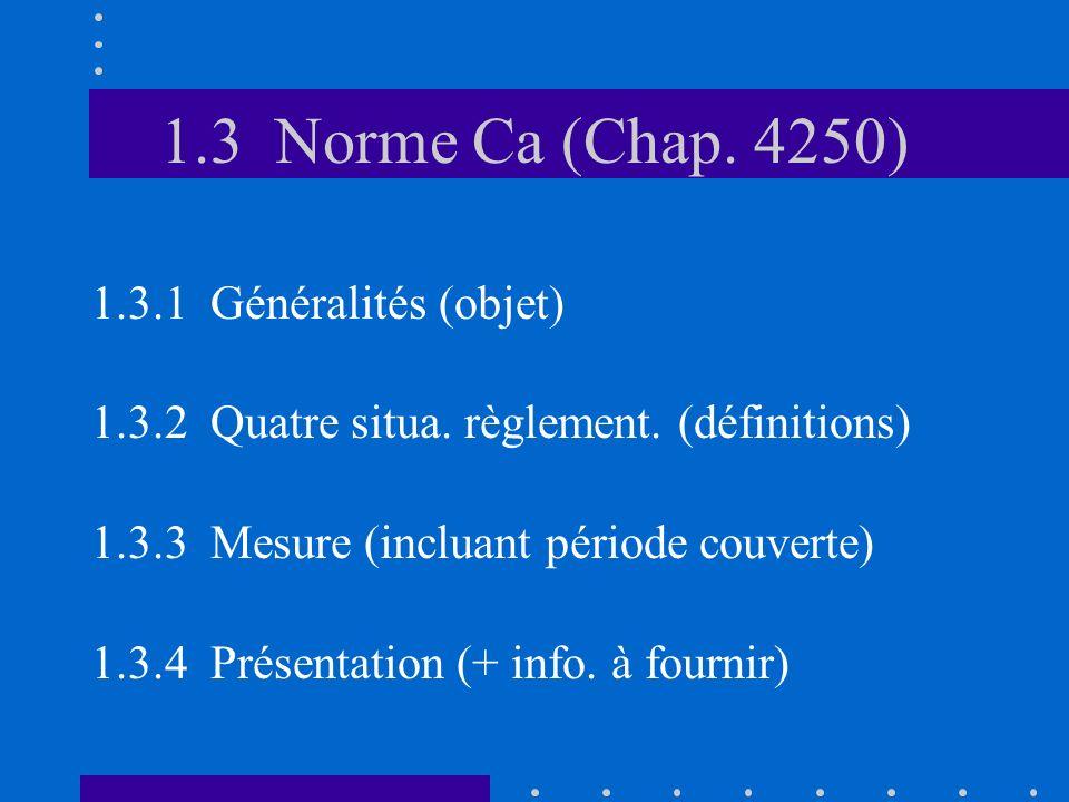 1.3 Norme Ca (Chap. 4250) 1.3.1 Généralités (objet) 1.3.2 Quatre situa.