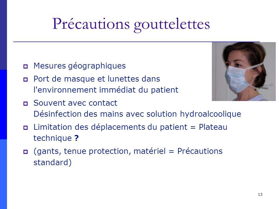 13 Précautions gouttelettes Mesures géographiques Port de masque et lunettes dans l'environnement immédiat du patient Souvent avec contact Désinfectio