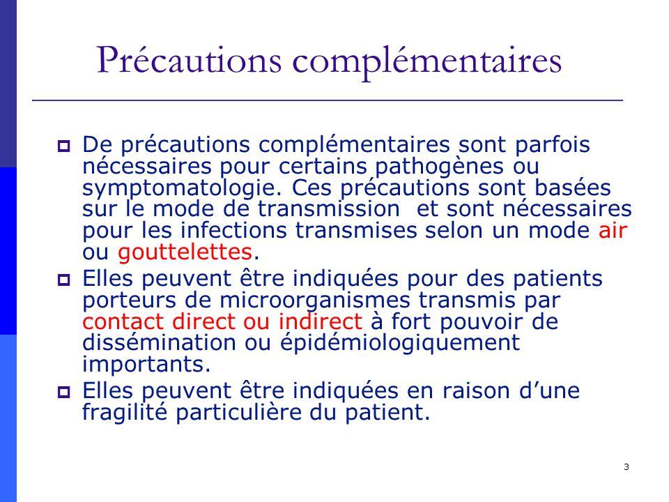3 Précautions complémentaires De précautions complémentaires sont parfois nécessaires pour certains pathogènes ou symptomatologie. Ces précautions son
