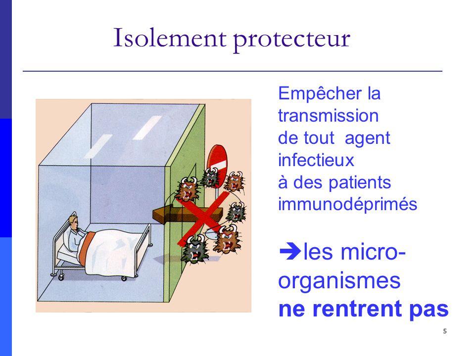 6 Précautions standard Précautions complémentaires (isolement septique) Empêcher la transmission dun agent infectieux, connu ou présumé, dun patient infecté ou porteur à des individus non infectés et non porteurs mais réceptifs les micro-organismes ne sortent pas