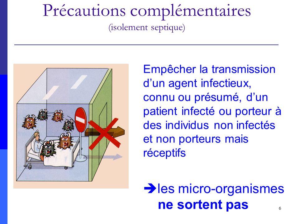 6 Précautions standard Précautions complémentaires (isolement septique) Empêcher la transmission dun agent infectieux, connu ou présumé, dun patient i