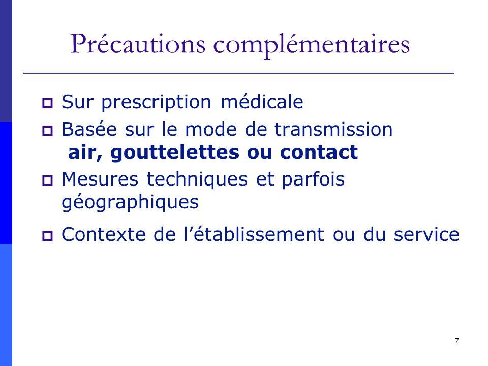 7 Précautions complémentaires Sur prescription médicale Basée sur le mode de transmission air, gouttelettes ou contact Mesures techniques et parfois g