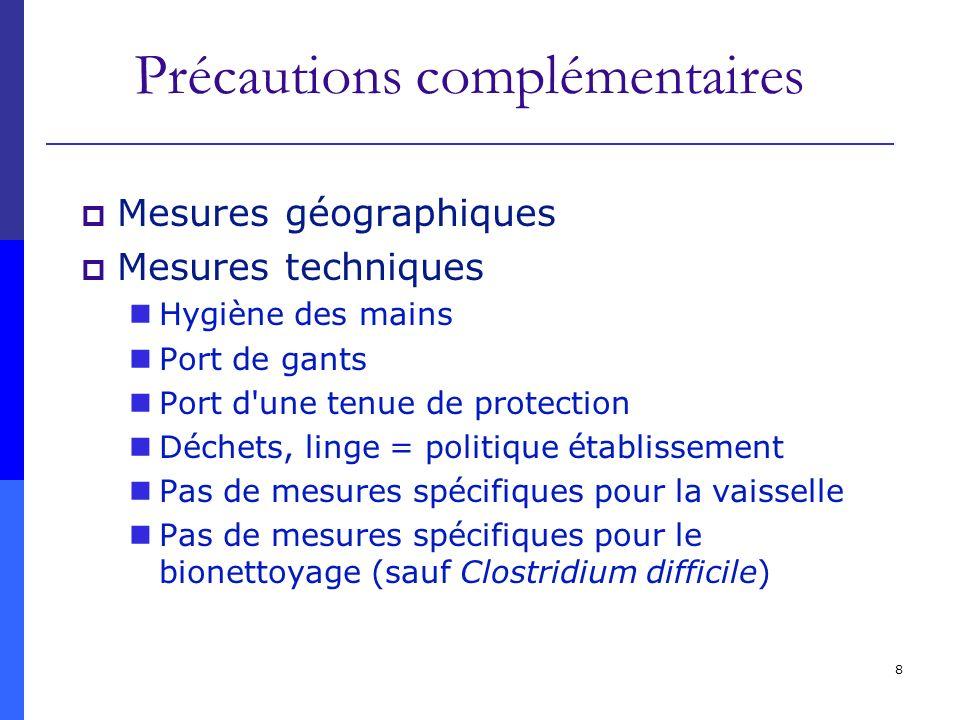 8 Précautions complémentaires Mesures géographiques Mesures techniques Hygiène des mains Port de gants Port d'une tenue de protection Déchets, linge =