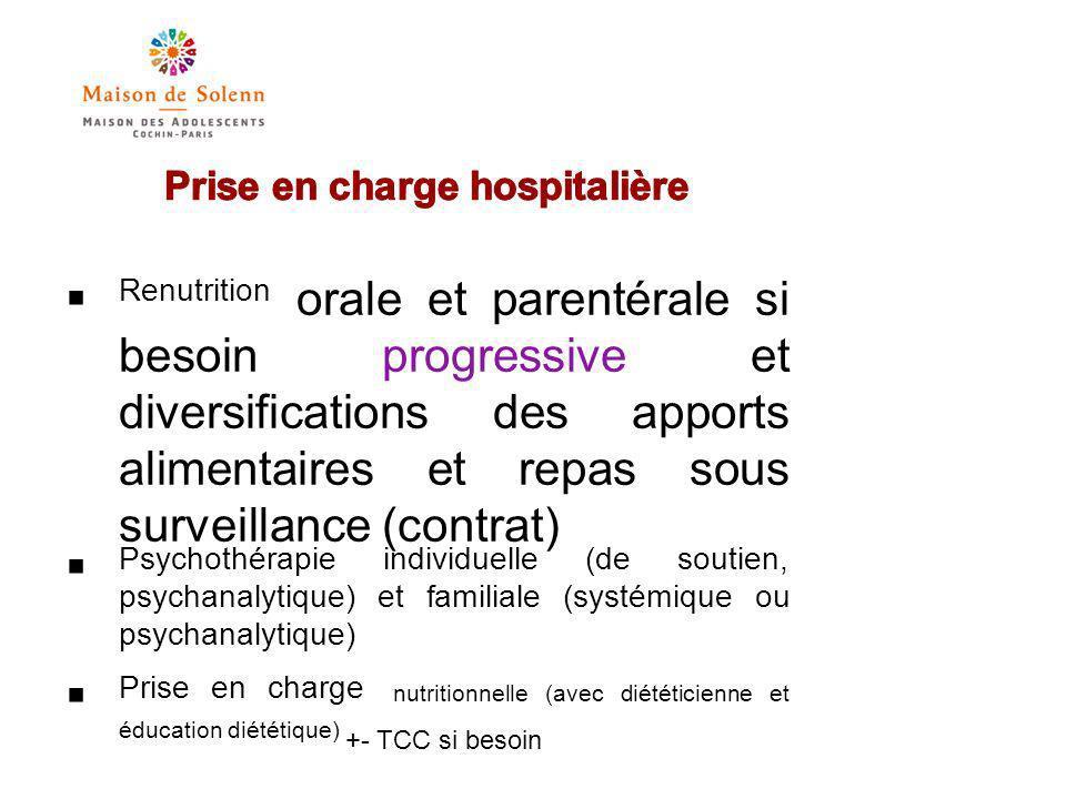 Prise en charge hosp (suite) Chimio après correction de la dénutrition: antidépresseurs, anxiolytiques, +-NL Traitements des complications Surveillance clinique (poids, constances), biologiques (iono+++ et bh)