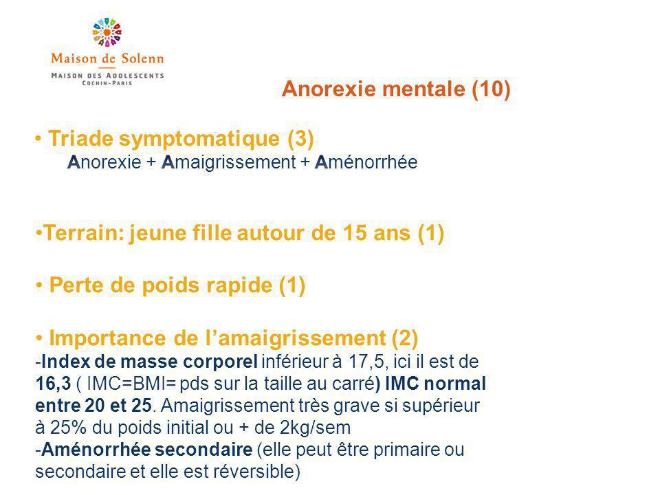 Anorexie mentale (10) Terrain: jeune fille autour de 15 ans (1) Perte de poids rapide (1) Importance de lamaigrissement (2) -Index de masse corporel inférieur à 17,5, ici il est de 16,3 ( IMC=BMI= pds sur la taille au carré) IMC normal entre 20 et 25.
