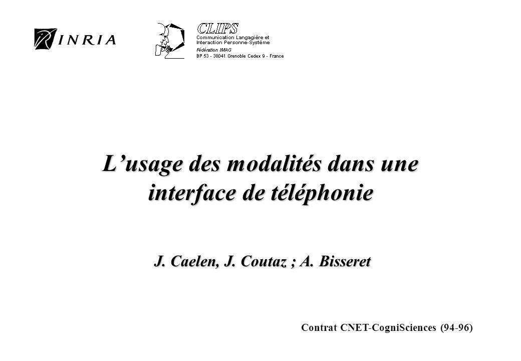Lusage des modalités dans une interface de téléphonie J. Caelen, J. Coutaz ; A. Bisseret Contrat CNET-CogniSciences (94-96)