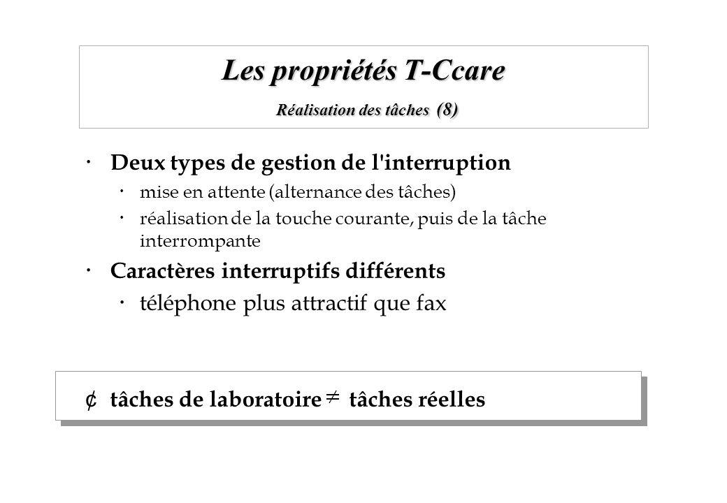 Les propriétés T-Ccare Réalisation des tâches (8) Deux types de gestion de l'interruption mise en attente (alternance des tâches) réalisation de la to