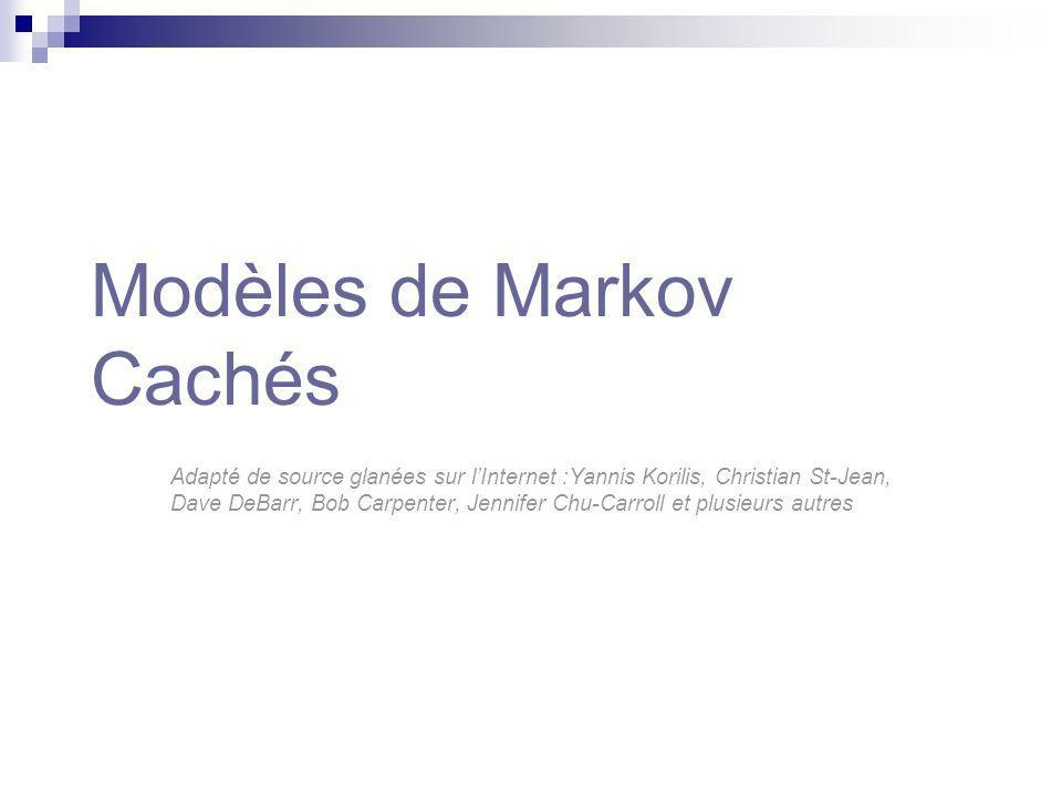 Modèles de Markov Cachés La séquence observée est lévidence dune chaîne de Markov sous-jacente cachée s1s1 s2s2 s1s1 s3s3 s2s2 s2s2 s1s1 Etat interne (caché) Observations PS N SP S S Lémission dun état observé nest pas déterministe .