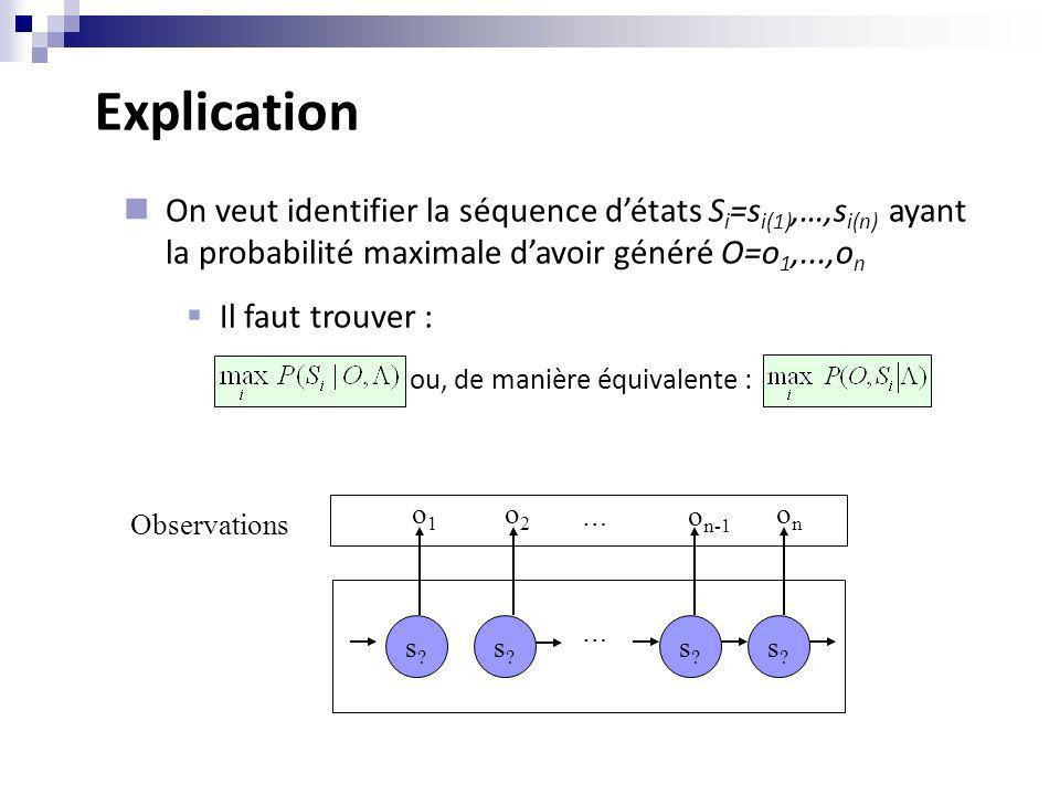 Explication s?s? s?s? s?s? s?s? Observations o1o1 o2o2 o n-1 onon On veut identifier la séquence détats S i =s i(1),…,s i(n) ayant la probabilité maxi