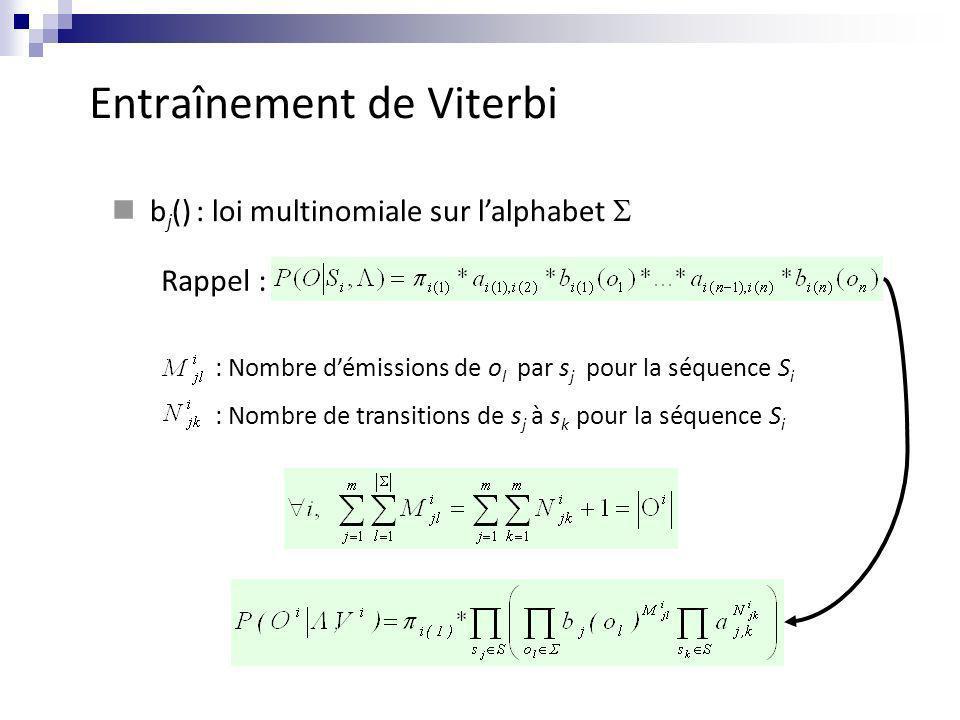 Entraînement de Viterbi b j () : loi multinomiale sur lalphabet Rappel : : Nombre démissions de o l par s j pour la séquence S i : Nombre de transitio