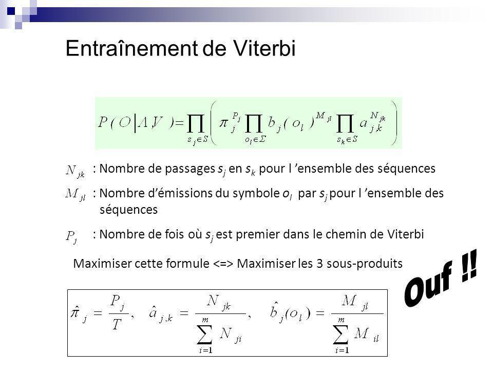 Entraînement de Viterbi : Nombre de passages s j en s k pour l ensemble des séquences : Nombre démissions du symbole o l par s j pour l ensemble des s