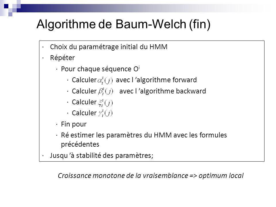 Algorithme de Baum-Welch (fin) ·Choix du paramétrage initial du HMM ·Répéter ·Pour chaque séquence O i ·Calculer avec l algorithme forward ·Calculer a