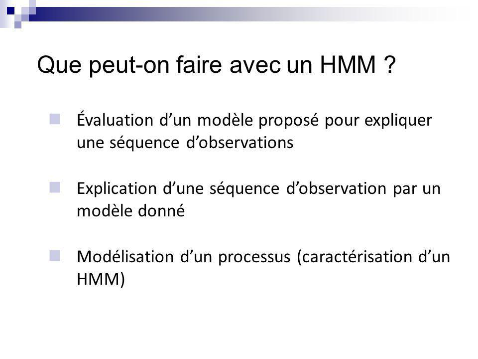 Évaluation de modèle Quel HMM ={,,,A,B} est le plus probable davoir donné lieu à une séquence dobservations O=o 1,...,o n .