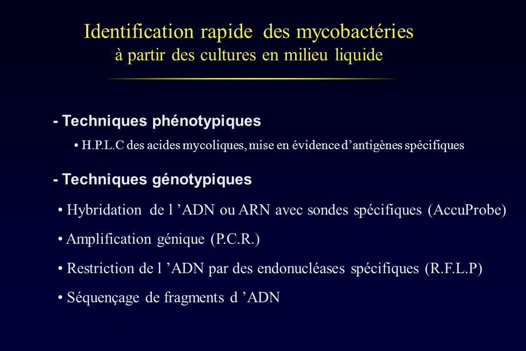 Identification rapide des mycobactéries à partir des cultures en milieu liquide Hybridation de l ADN ou ARN avec sondes spécifiques (AccuProbe) Amplif