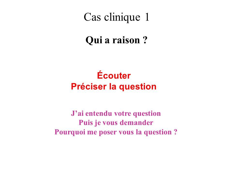 Cas clinique 1 Qui a raison ? Écouter Préciser la question Jai entendu votre question Puis je vous demander Pourquoi me poser vous la question ?