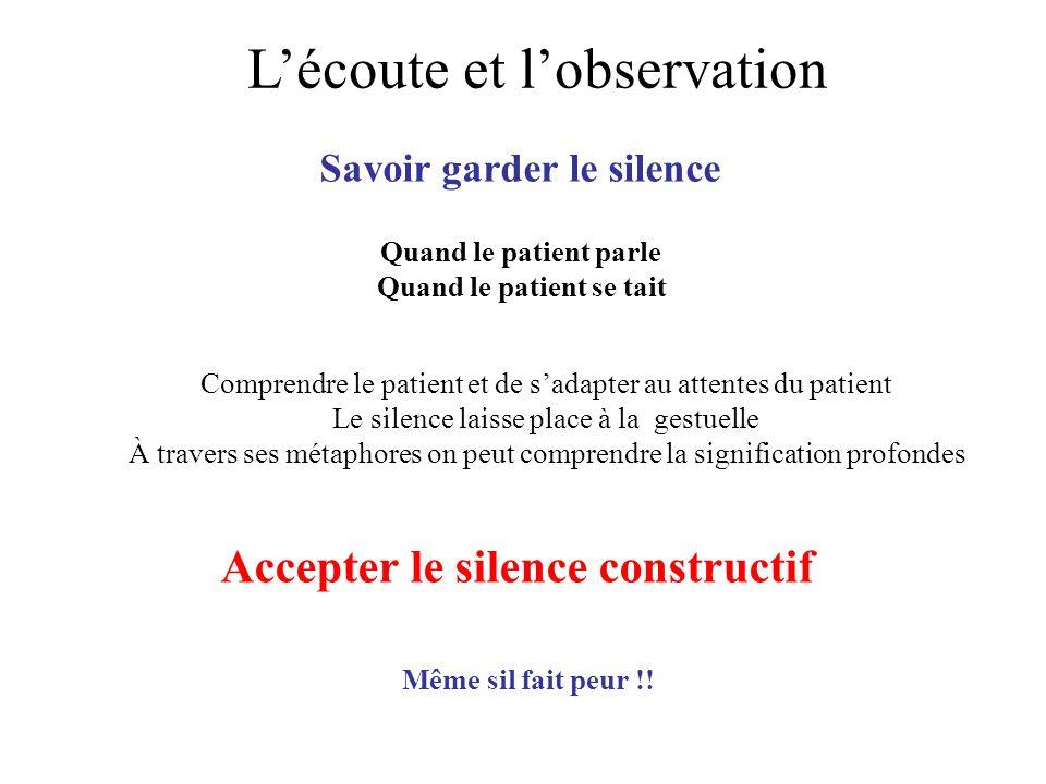 Lécoute et lobservation Savoir garder le silence Quand le patient parle Quand le patient se tait Comprendre le patient et de sadapter au attentes du p