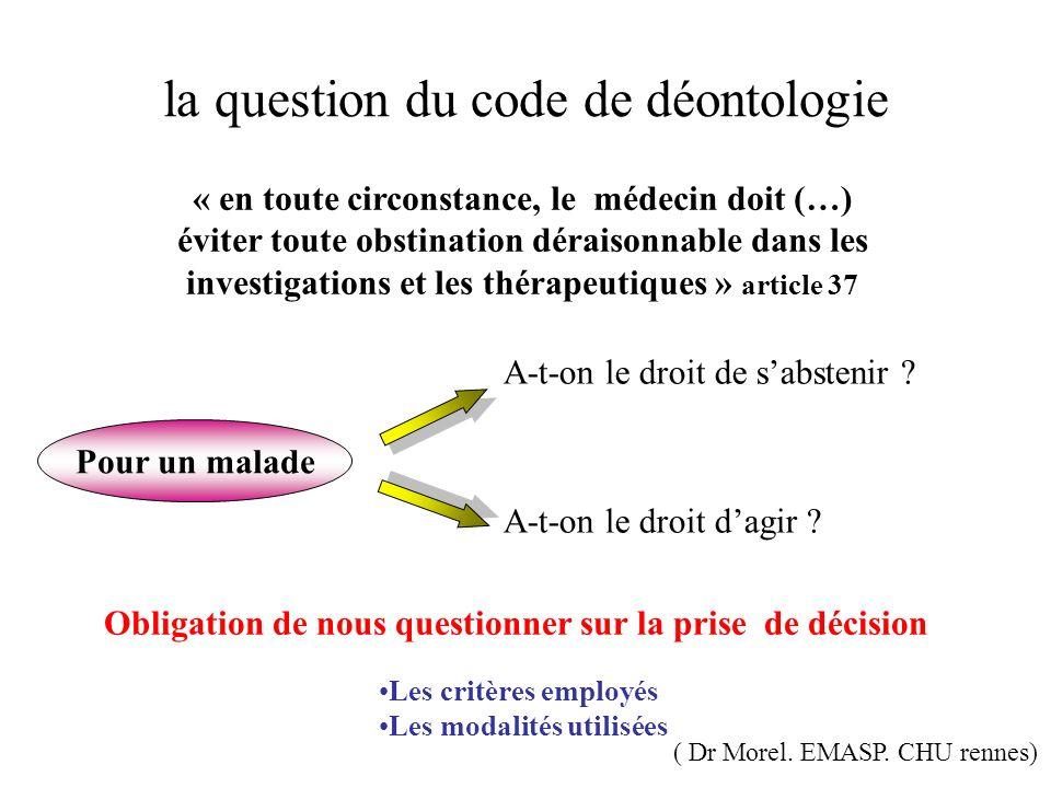 la question du code de déontologie « en toute circonstance, le médecin doit (…) éviter toute obstination déraisonnable dans les investigations et les