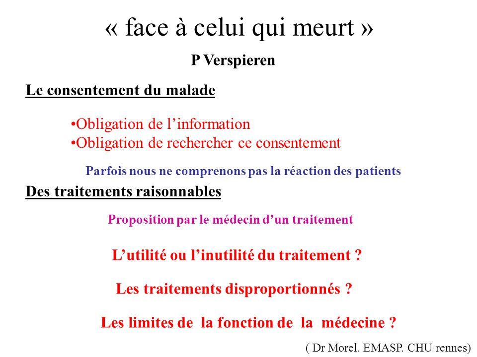 « face à celui qui meurt » P Verspieren Le consentement du malade Des traitements raisonnables Proposition par le médecin dun traitement Les traitemen