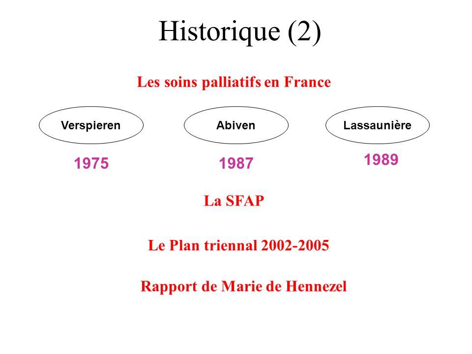 Historique (2) Les soins palliatifs en France VerspierenAbivenLassaunière 19751987 1989 La SFAP Le Plan triennal 2002-2005 Rapport de Marie de Henneze