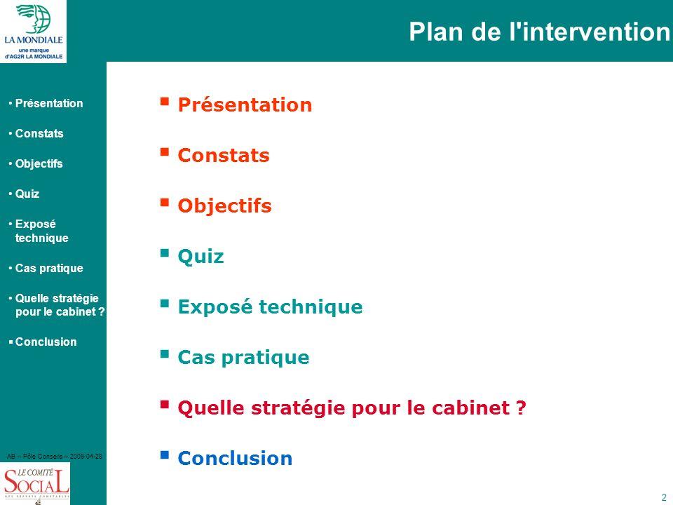 Présentation Constats Objectifs Quiz Exposé technique Cas pratique Quelle stratégie pour le cabinet ? Conclusion AB – Pôle Conseils – 2009-04-28 2 Pla