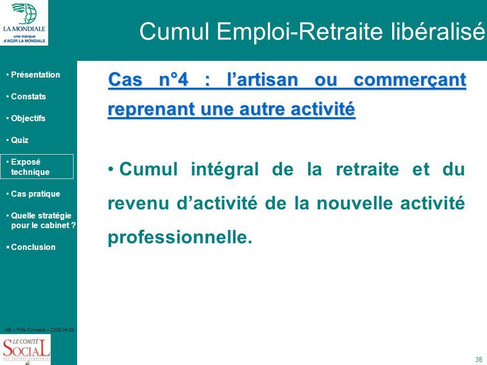 Présentation Constats Objectifs Quiz Exposé technique Cas pratique Quelle stratégie pour le cabinet ? Conclusion AB – Pôle Conseils – 2009-04-28 38 Ca