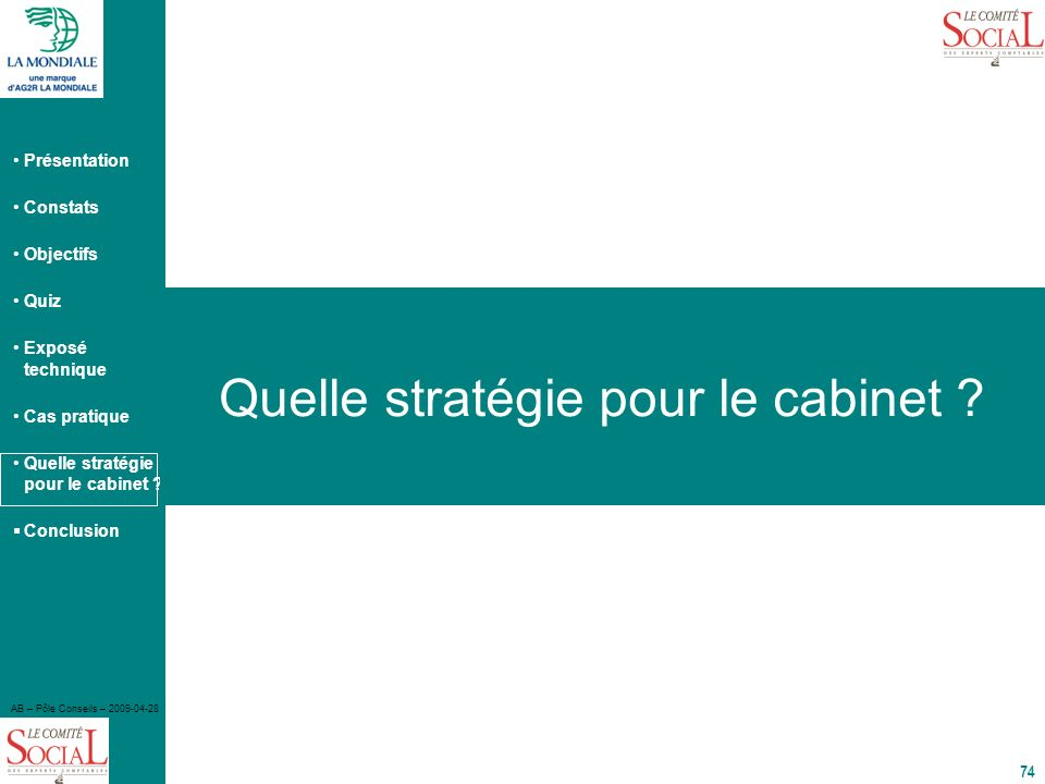 Présentation Constats Objectifs Quiz Exposé technique Cas pratique Quelle stratégie pour le cabinet ? Conclusion AB – Pôle Conseils – 2009-04-28 74 Qu