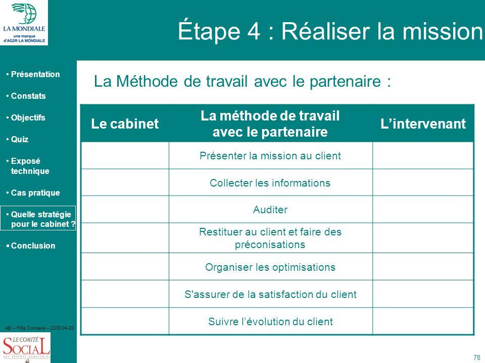 Présentation Constats Objectifs Quiz Exposé technique Cas pratique Quelle stratégie pour le cabinet ? Conclusion AB – Pôle Conseils – 2009-04-28 78 La
