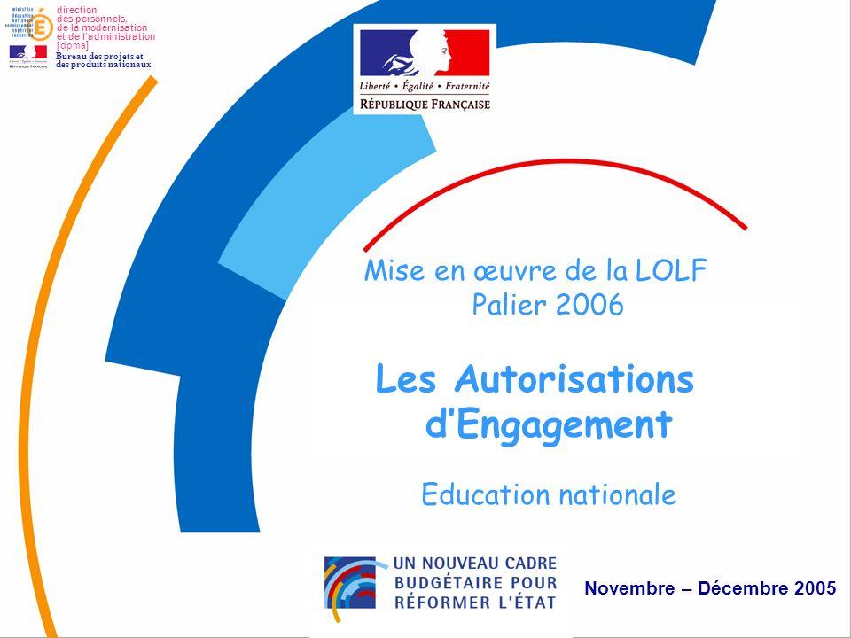 1 Autorisations d'Engagement Mise en œuvre de la LOLF Palier 2006 Les Autorisations dEngagement Education nationale Novembre – Décembre 2005 direction