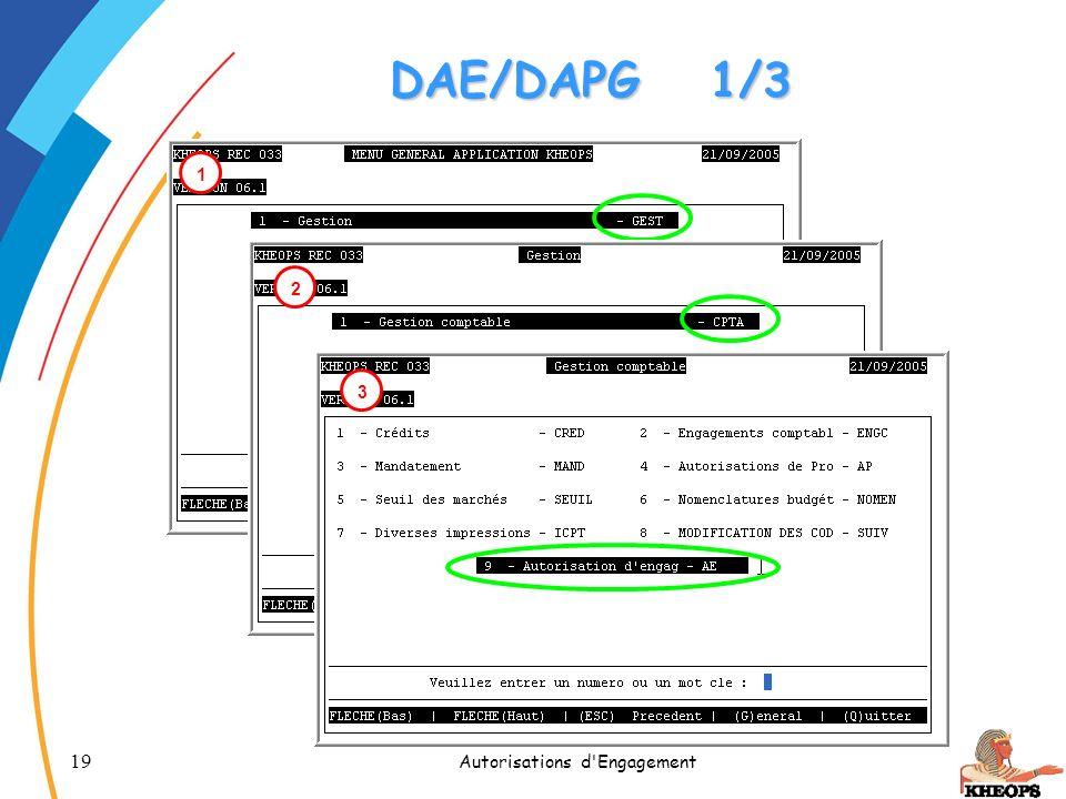19 Autorisations d'Engagement DAE/DAPG1/3 1 2 3