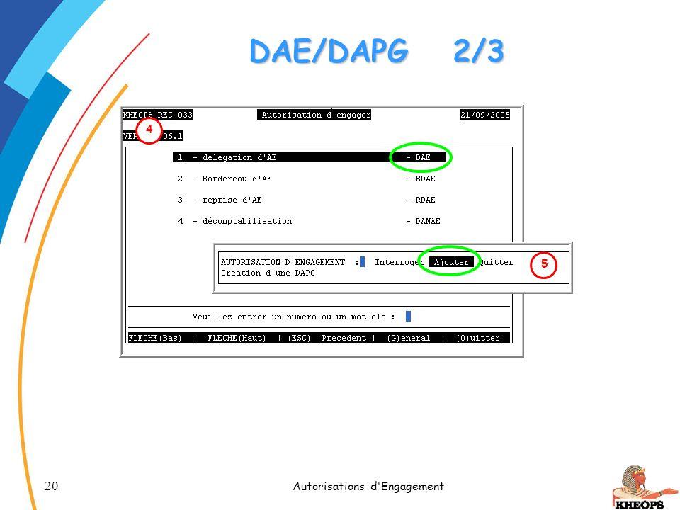 20 Autorisations d'Engagement 4 DAE/DAPG2/3 5