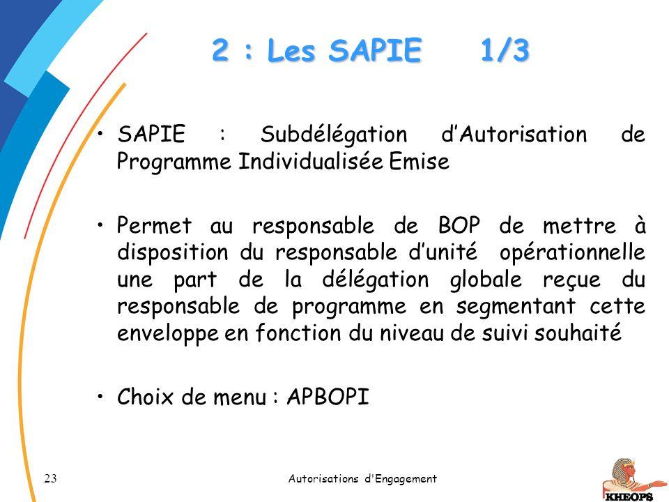 23 Autorisations d'Engagement 2 : Les SAPIE1/3 SAPIE : Subdélégation dAutorisation de Programme Individualisée Emise Permet au responsable de BOP de m