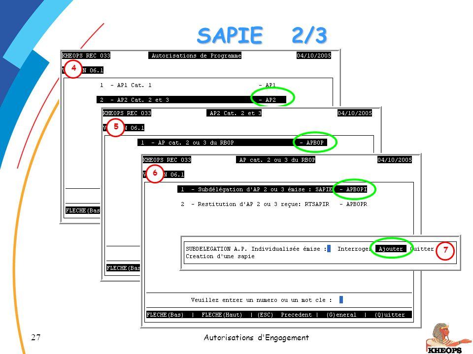 27 Autorisations d'Engagement 4 5 6 SAPIE2/3 7