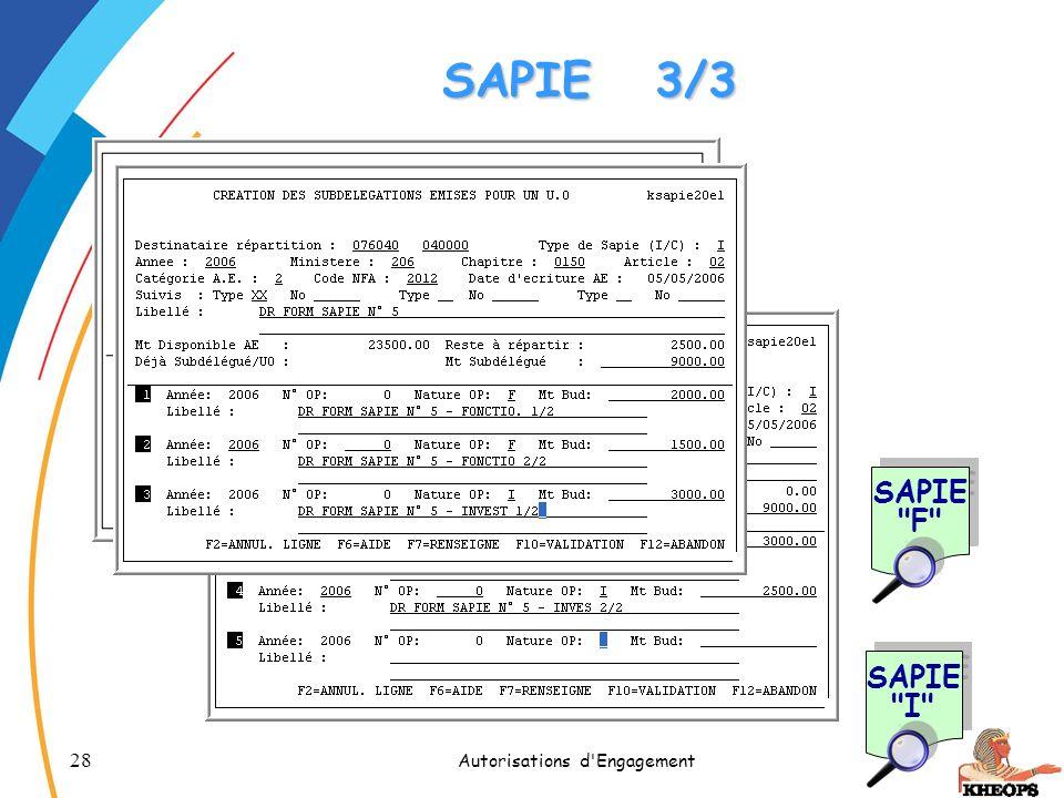 28 Autorisations d'Engagement SAPIE3/3 SAPIE