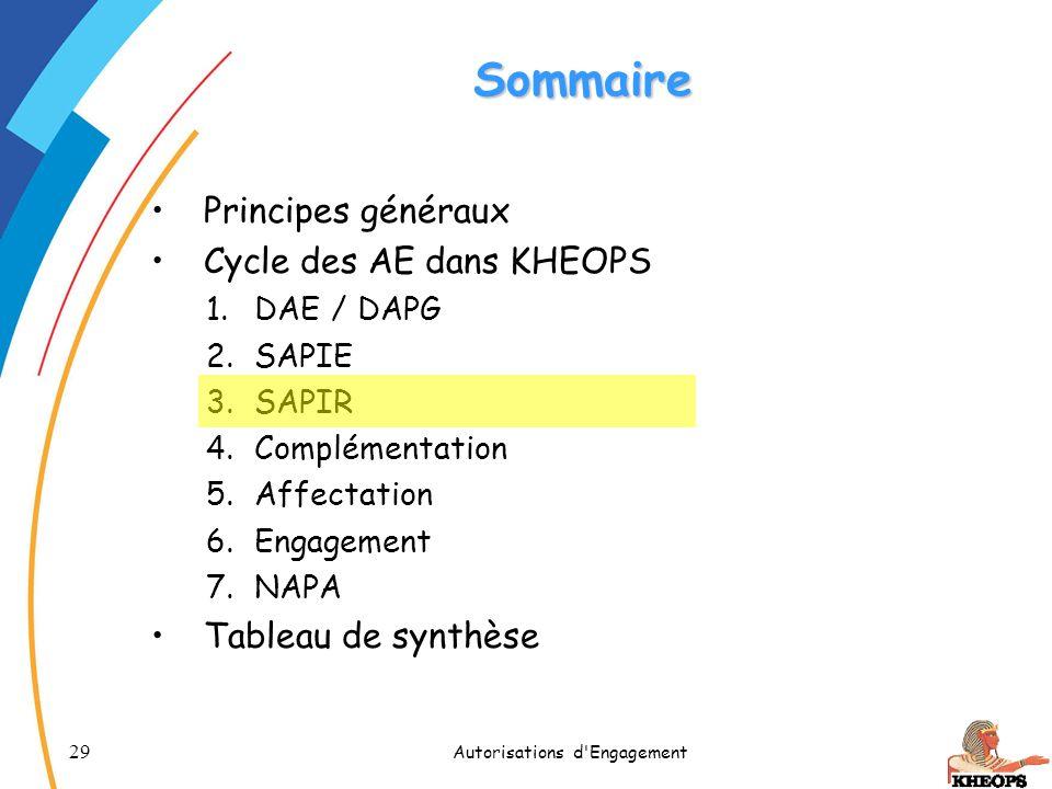 29 Autorisations d'Engagement Sommaire Principes généraux Cycle des AE dans KHEOPS 1.DAE / DAPG 2.SAPIE 3.SAPIR 4.Complémentation 5.Affectation 6.Enga