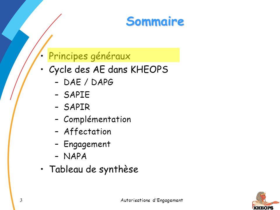 14 Autorisations d Engagement Sommaire Principes généraux Cycle des AE dans KHEOPS 1.DAE / DAPG 2.SAPIE 3.SAPIR 4.Complémentation 5.Affectation 6.Engagement 7.NAPA Tableau de synthèse