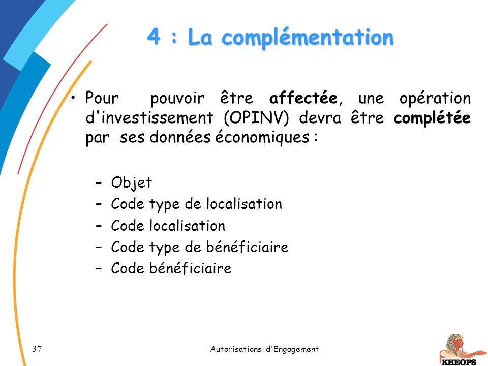 37 Autorisations d'Engagement 4 : La complémentation Pour pouvoir être affectée, une opération d'investissement (OPINV) devra être complétée par ses d