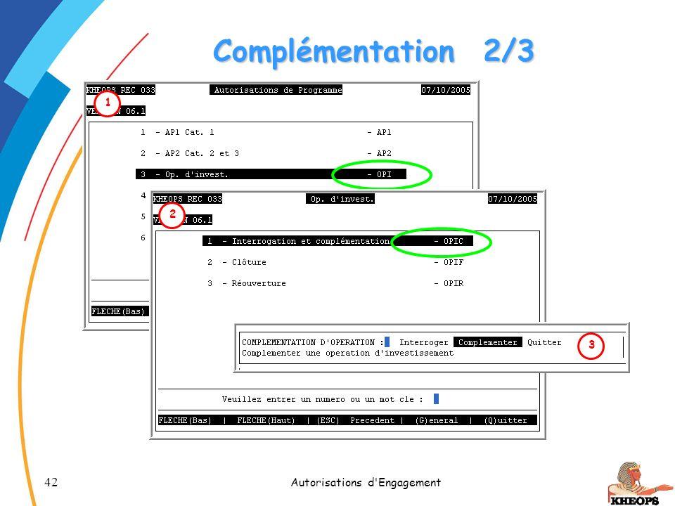42 Autorisations d'Engagement Complémentation2/3 1 2 3