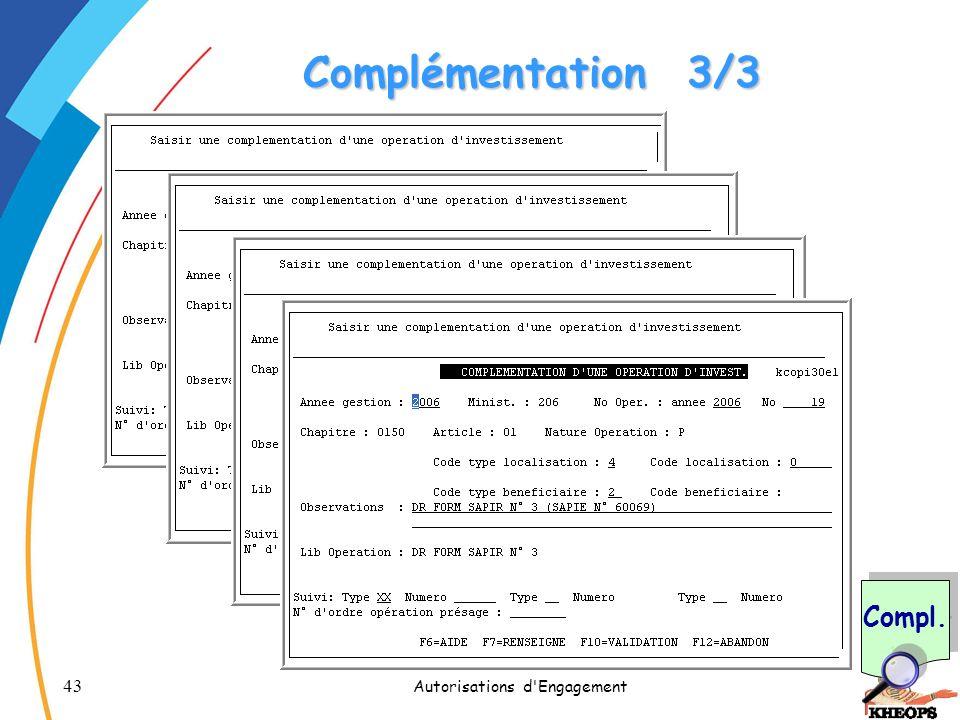 43 Autorisations d'Engagement Complémentation3/3 Compl.