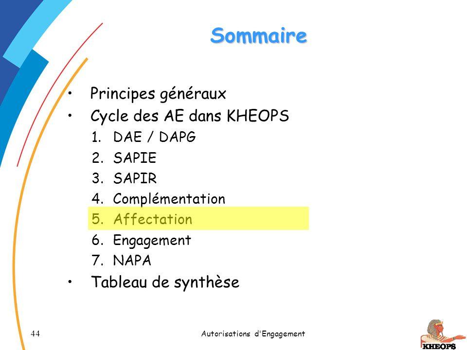 44 Autorisations d'Engagement Sommaire Principes généraux Cycle des AE dans KHEOPS 1.DAE / DAPG 2.SAPIE 3.SAPIR 4.Complémentation 5.Affectation 6.Enga