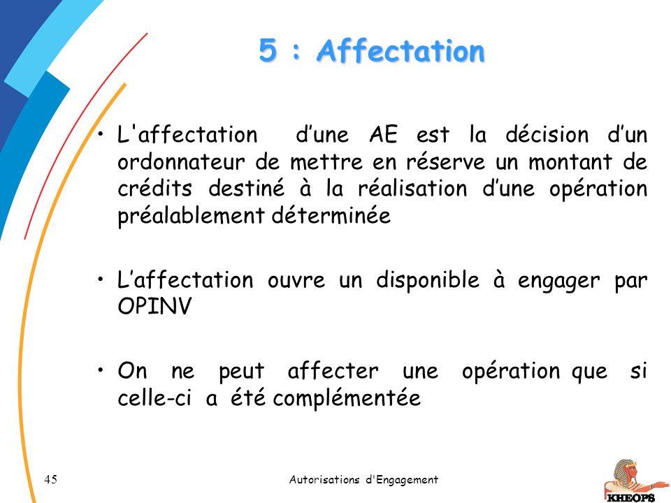 45 Autorisations d'Engagement 5 : Affectation L'affectation dune AE est la décision dun ordonnateur de mettre en réserve un montant de crédits destiné