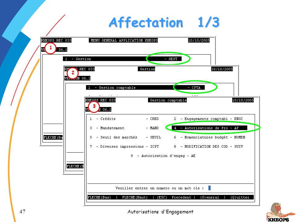 47 Autorisations d'Engagement Affectation1/3 1 2 3