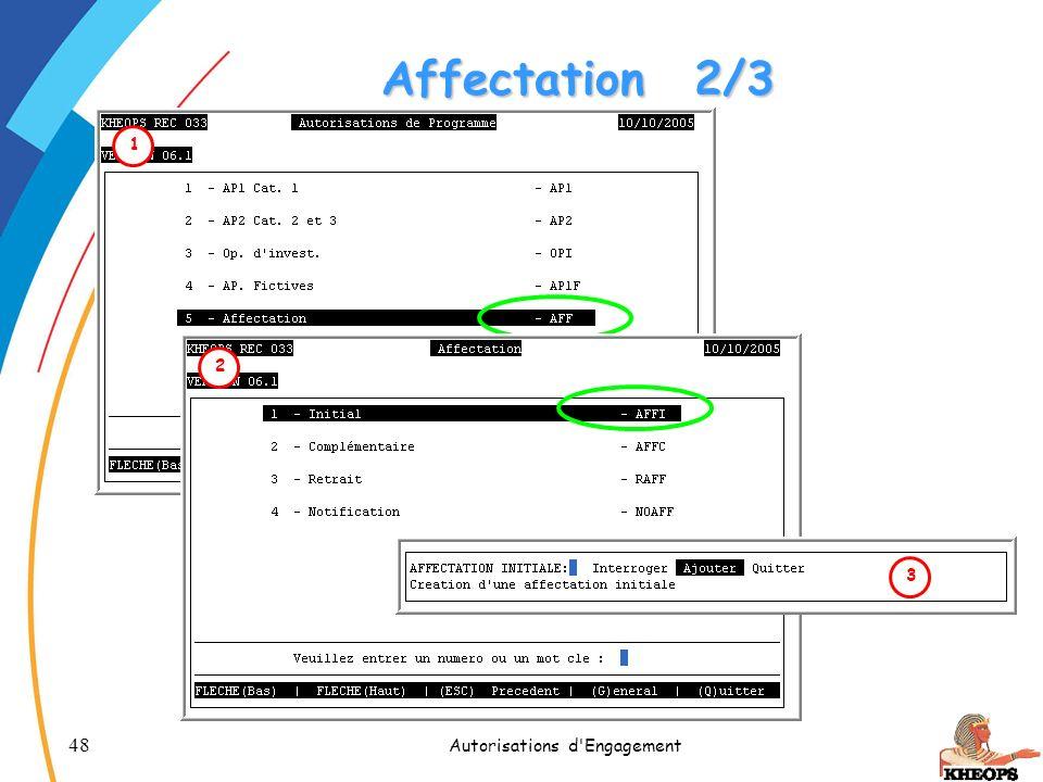 48 Autorisations d'Engagement Affectation2/3 1 2 3