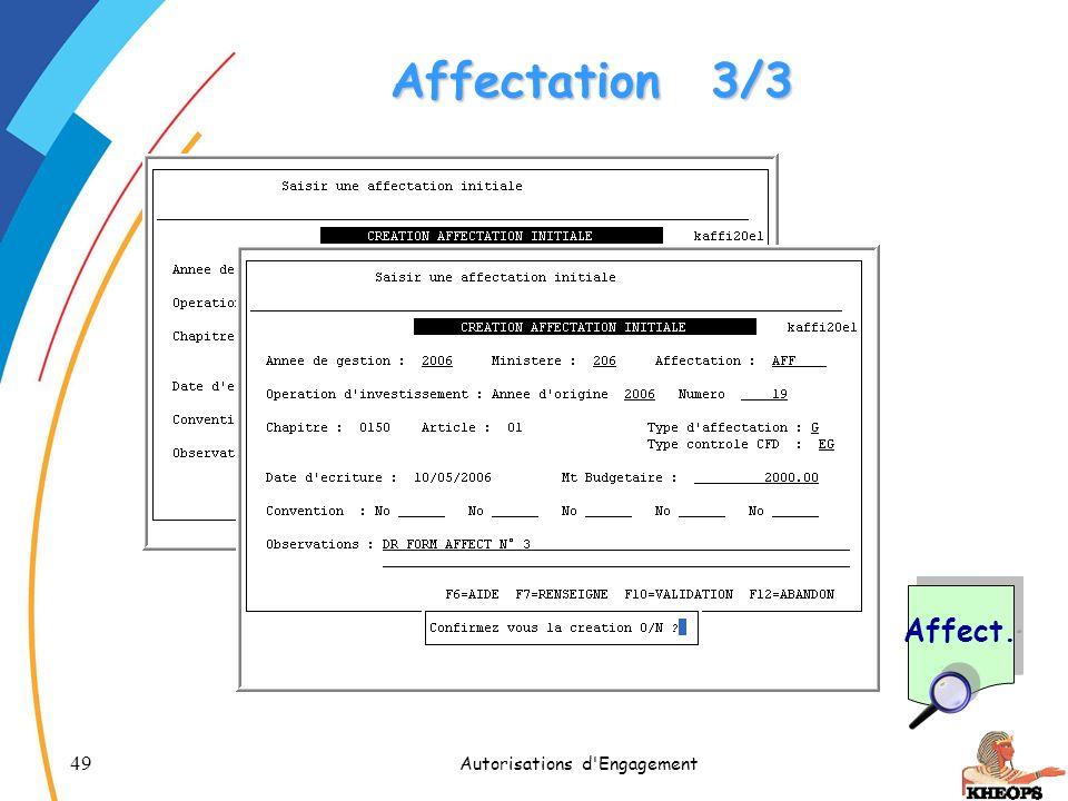 49 Autorisations d'Engagement Affectation3/3 Affect.