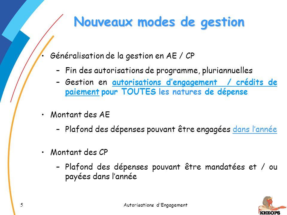 5 Autorisations d'Engagement Nouveaux modes de gestion Généralisation de la gestion en AE / CP –Fin des autorisations de programme, pluriannuelles –Ge