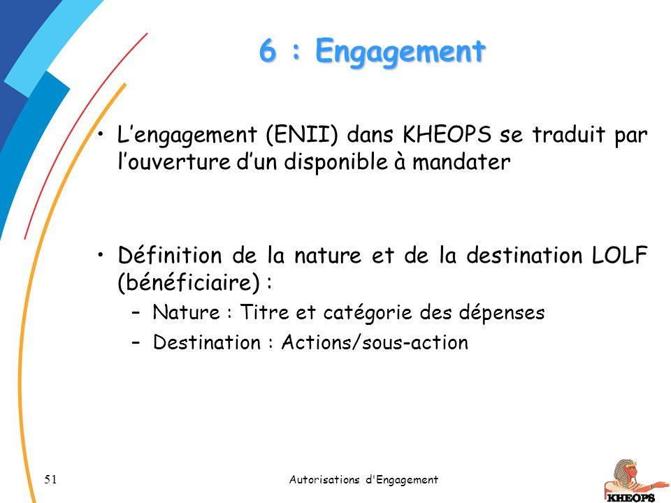51 Autorisations d'Engagement 6 : Engagement Lengagement (ENII) dans KHEOPS se traduit par louverture dun disponible à mandater Définition de la natur