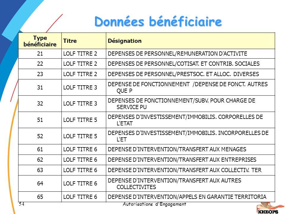 54 Autorisations d'Engagement Données bénéficiaire Type bénéficiaire TitreDésignation 21LOLF TITRE 2DEPENSES DE PERSONNEL/REMUNERATION D'ACTIVITE 22LO