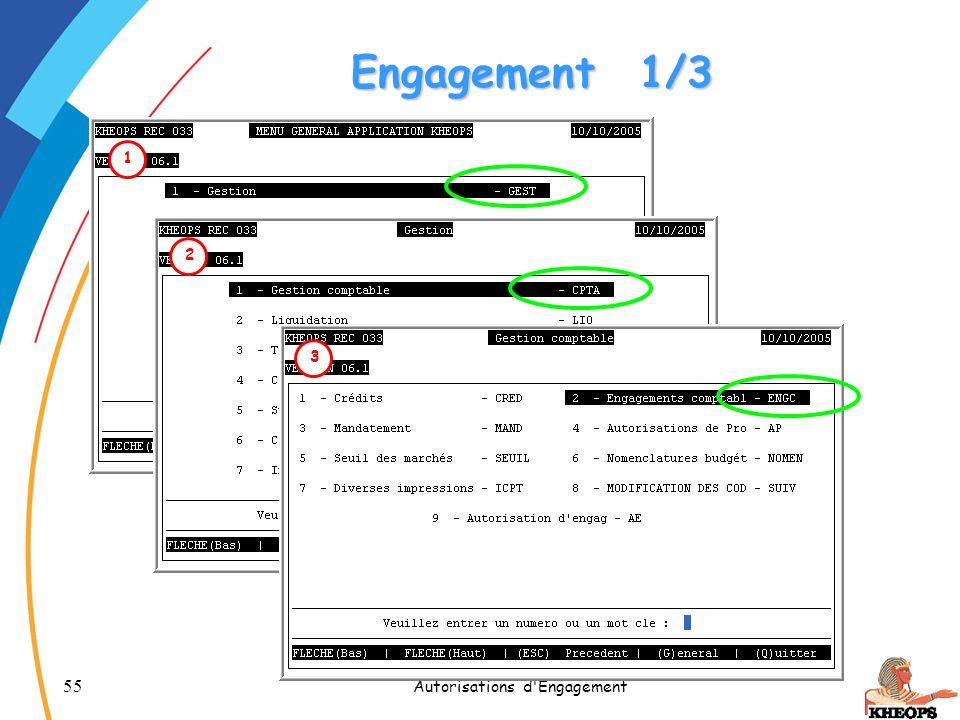 55 Autorisations d'Engagement 1 Engagement1/3 2 3