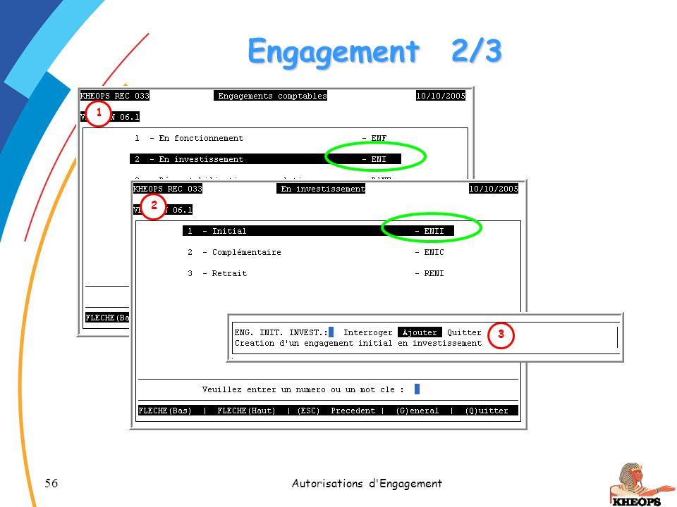 56 Autorisations d'Engagement Engagement2/3 12 3