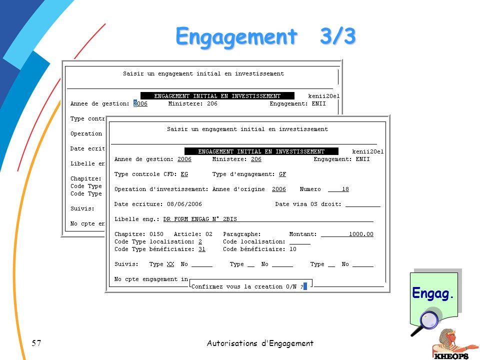 57 Autorisations d'Engagement Engagement3/3 Engag.